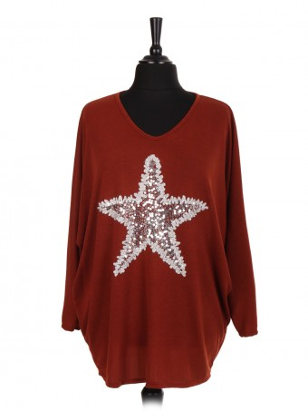 Italian Sequin Star Embellished Batwing Top