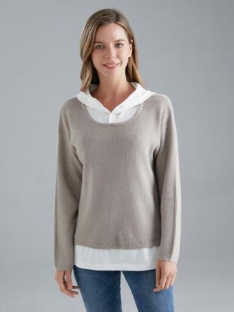 Italian Shirt Insert Hooded Knitted Jumper