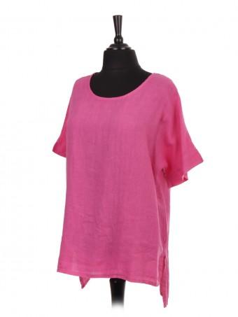 Italian Short Sleeve High Low  Linen Top