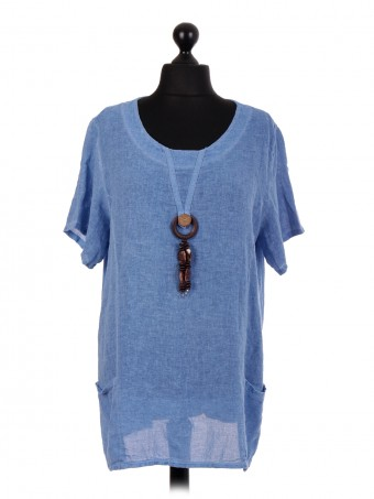 Italian Short Sleeve Tunic Top With Pockets