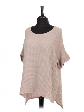 Italian Short Sleeve Waffle Weave Cotton High Low Top