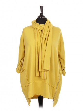 Italian Side Zip Detail High Low Top With Scarf and Front Pocket