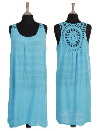 Italian Sleeveless Crochet Back Dress