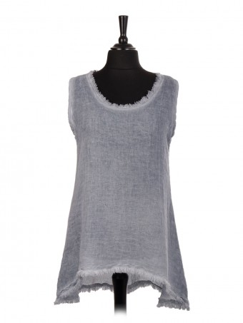Italian Cold Dye Sleeveless Dip Hem Tunic Top