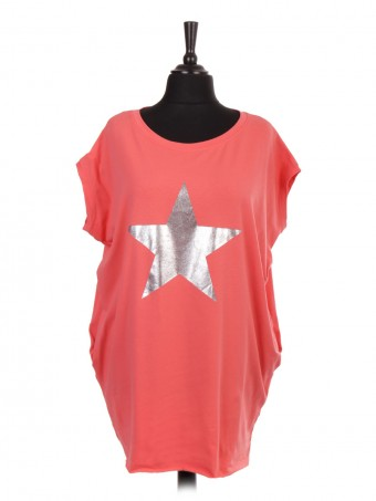 Italian Sleeveless Glossy Star Dip Hem Top with Side Pockets