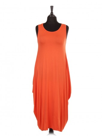 Italian Sleeveless Jersey Parachute Lagenlook Dress