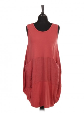 Italian Sleeveless Lagenlook Dress With Linen Patch and Pockets