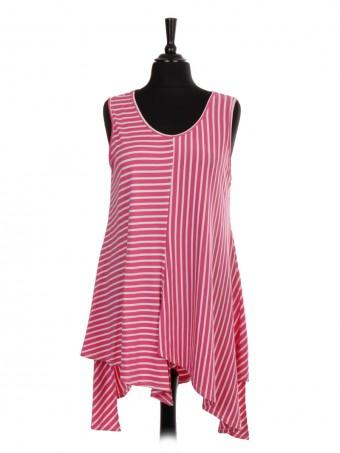 Italian Sleeveless Stripe Tunic Top