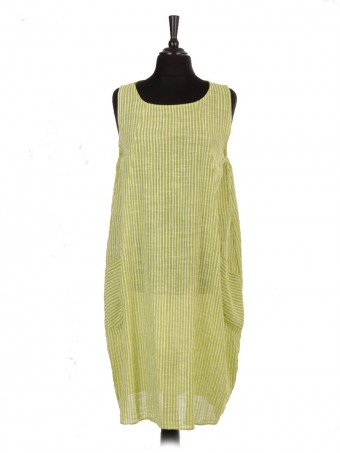 Italian Sleeveless Stripy Print Lagenlook Dress With Front Pockets