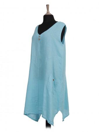 Italian Sleeveless V-Neck Linen Dress with Front Pockets