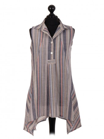 Italian Slim Fit Stripe Pattern Tunic Top