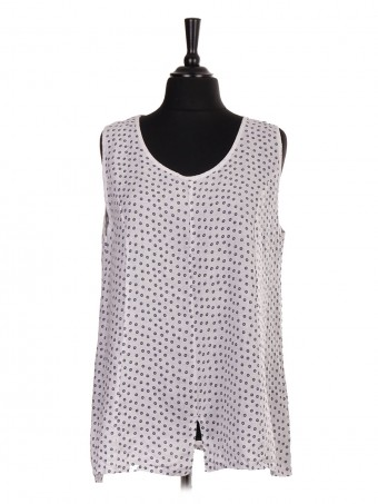 Italian Linen Small Flower Print Sleeveless Top With Split Hem