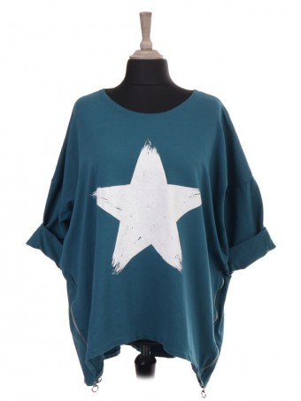 Italian Star Print Dip Hem Top With Side Zip Detail