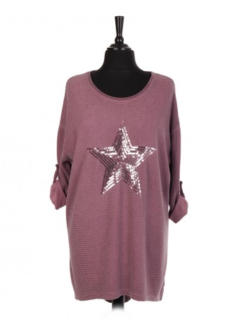 Italian Star Sequin Ribbed Fabric Dip Hem Top