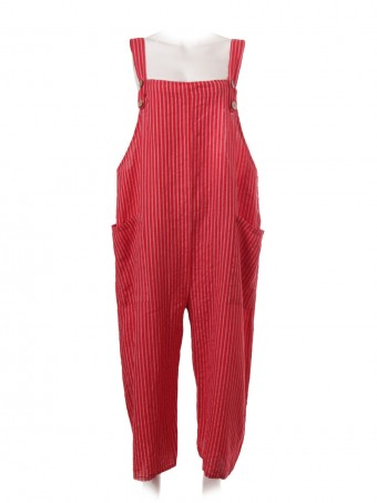 Italian Stripe Linen Dungaree With Button Fastening Straps