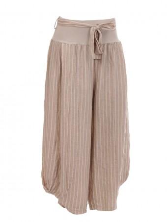 Italian Stripe Print Linen Harem Trouser