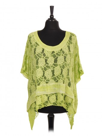 Italian Tape Embroidered Lace Batwing Tunic Top