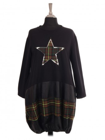 Italian Tartan Print Star and Elasticated Hem Lagenlook Dress