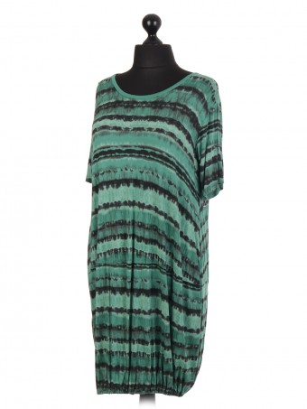 Italian Tie Dye Elasticated Hem Dress