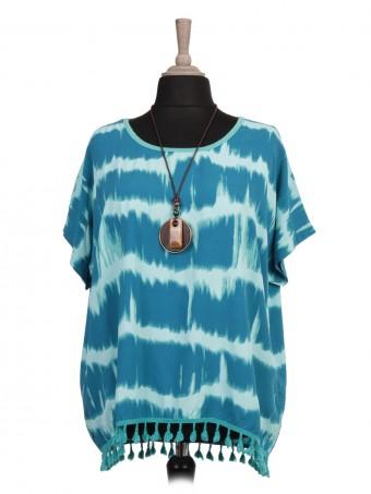 Italian Tie Dye Print Tassel Hem Top With Necklace