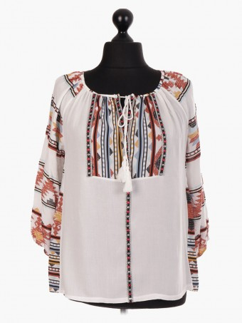 Italian Tribal Print Tassel Neck Blouse