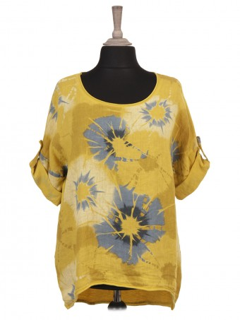 Italian Turn-up Sleeves Floral Print Linen Top