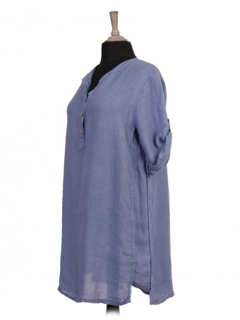 Italian Turn-up Sleeves Linen Shirt Dress With Lace Detail