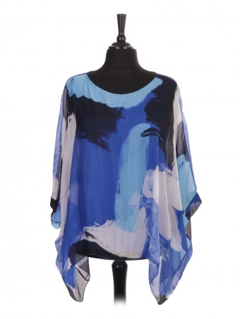 Italian Two Layered Brush Stroke Print Silk Batwing Top