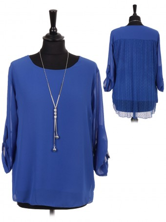 Italian Two Layered Front Chiffon And Back Net Lace Blouse With Necklace