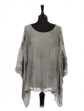 Italian Two Layered Embroidered Silk Batwing Top