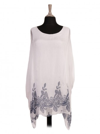 Italian Two Layered Floral Printed Batwing Silk Top