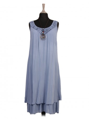 Italian Two Layered Lace Detail Neck Dress With Necklace