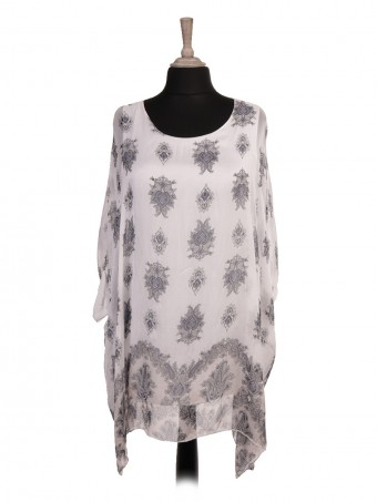 Italian Two Layered Mandala Print Silk Batwing Top