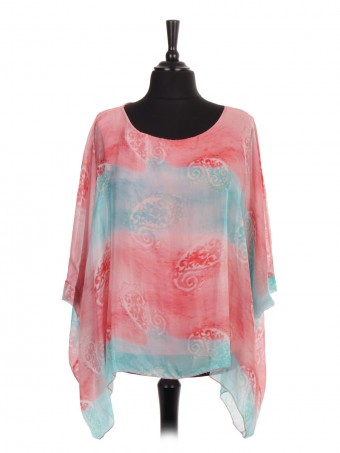 Italian Two Layered Paisley Print Silk Batwing Tunic Top