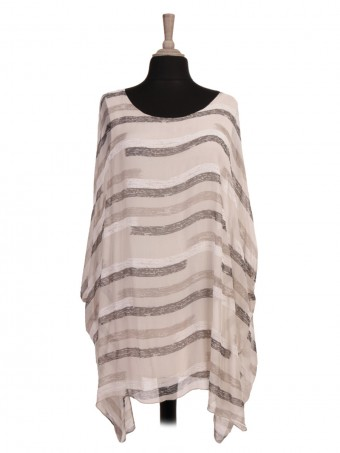 Italian Two Layered Printed Batwing Silk Top