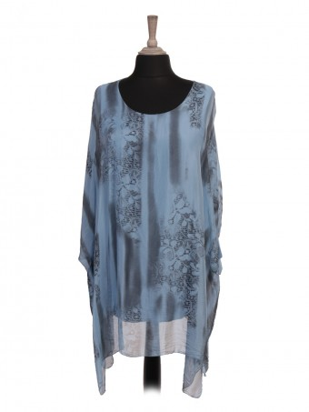 Italian Two Layered Snake Skin Print Batwing Silk Tunic