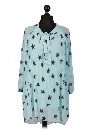 Italian Two Layered Star Print Pleated Dip Hem Tunic Top