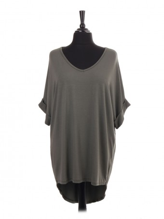 Italian V-neck High Low Batwing Jersey Top