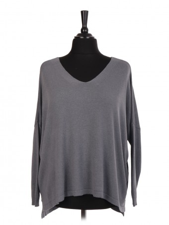Italian V-neck Knitted Oversized Top