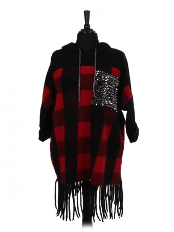 Italian Wool Check Pattern Hooded Jumper With Sequin Pocket And Fringe Hem