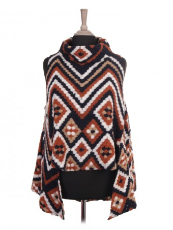Italian Wool Mix Knitted Funnel Neck High Low Cape