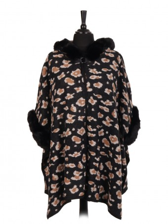 Italian Wool Mix Leopard Print Fur Cape With Buckle Fastening