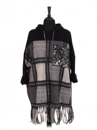 Italian Wool Tartan Hooded Jumper With Sequin Pocket And Fringe Hem