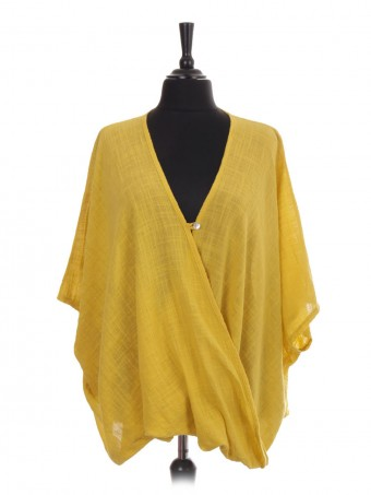 Italian Wrap Over Batwing Top With Button Fastening