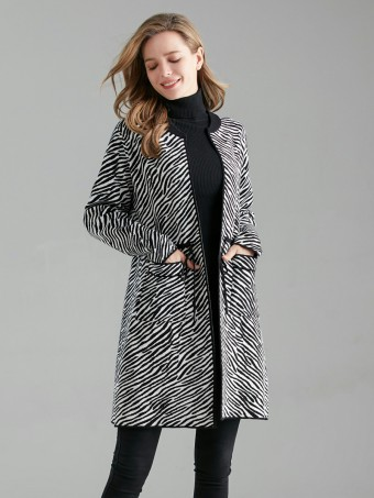 Italian Zebra Print Drawstring Waist Knitted Cardigan