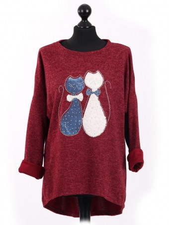 Italian Cat Embossed High Low Glittery Top Maroon