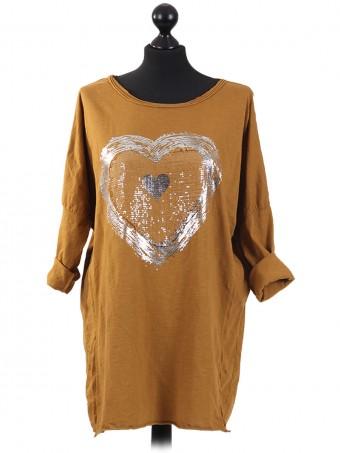Italian Sequin Heart Cotton Top Mustard