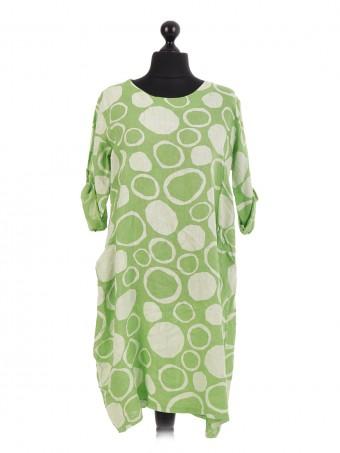 Italian Linen Spotty Circle Oversized Pocket Dress