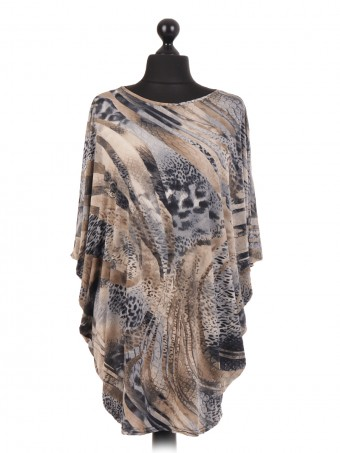 Made In Italy Animal Print Batwing Top