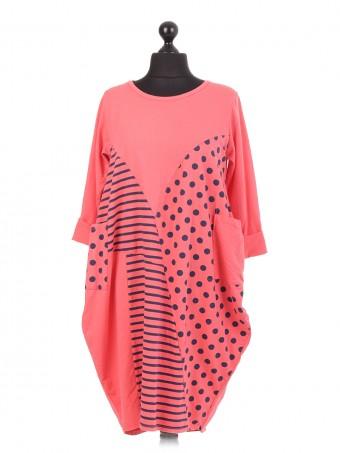 Italian Cotton Polka Dot & Stripe Lagenlook Dress